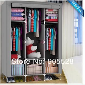 2013 hot sale Simple cloth wardrobe DIY Foldable Wardrobe with Modern & Novel Design High Quality steel wardrobe closet silver