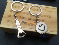 retail 4pair/lot pair of smile face bottle opener type keyring Novelty metal keyring for love logo customize Free shipping