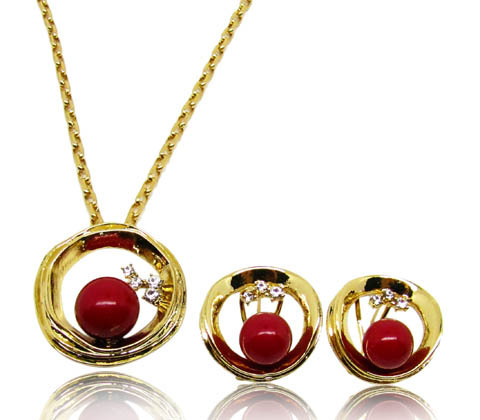 Wholesale Asian Pop 18K Gold Plated jewelry set with Folk style for Party(China (Mainland))