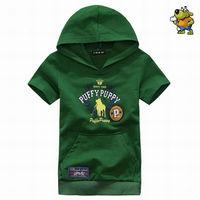 Wholesale 6 pcs summer blue green gray Children Child boy Kids baby short sleeve hoody hooded cotton shirt T-shirt top PEXZ01P17