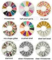 20x New Nail Art Rhinestones Glitters Acrylic Tips Decoration Manicure Wheel Free Shipping