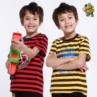 Wholesale 4pcs summer blue red yellow striped Children Child boy Kids baby short sleeve cotton POLO shirt T-shirt  top PEXZ01P03