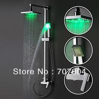 "60% off Sale Cheapest Square Luxury chrome brass shower set faucet 8""rain shower head & hand shower with 3 color LED light"