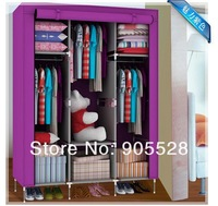 2013 hota sale Simple cloth wardrobe Fashion multilayer scroll environment wardrobe non-woven fabrics purple 106*43*168cm