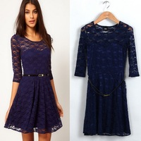 2013 Womens Clothing Fashion O-Neck Half Sleeve Lace Hollow Out Above-Knee Dresses With Belt LF5342