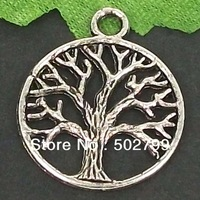 Free Shipping Wholesale Lots 40pcs Tibetan Silver Tone Alloy Round Tree Charms Pendants TS6112