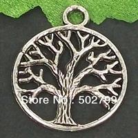 Free Shipping Wholesale Lots 40pcs Tibetan Silver Tone Alloy Round Tree Charms TS6112