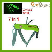 Free Shipping M02-43 7 in 1 Luminous multi camping knife Wholesale/Retail
