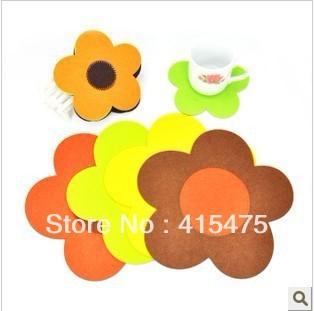 wholesale  mix order wool felt fabric  felt furniture pads vintage tea cups decorative pads promotion gift  big size 17.5*0.5cm