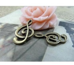 DIY Jewelry Accessories 12*23mm ancient bronze Music symbols 30pcs / pack Free shipping(China (Mainland))
