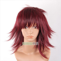 Halloween Maroon Medium Straight Cosplay Wig high temperature synthetic hair