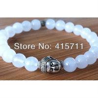 YH-BB046 White Gade Silver Metal Buddha Bracelet Mens Bead Bracelet (5 pieces/lot)
