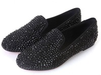 2013 New  genuine cow leather rivets ol women's fashion designer spike shoes,  plus size 4-11 BBS17A11
