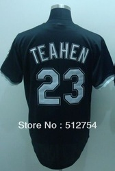 Free Shipping #23 Mark Teahen Men's Baseball Jersey,Embroidery and Sewing Logos,size M--3XL,Accpet Mix Order(China (Mainland))