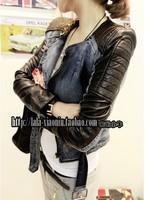 2013 new fashion summer autumn winter women leather patchwork  garment denim jacket short design outerwear leisure wear