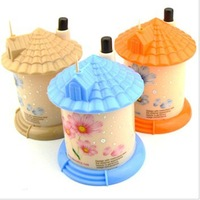 6pcs/lot Multi color Eco-Friendly Cartoon Pocket Plastic Castle Little House Design Automatic Toothpick Holder dispenser Box