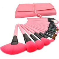 Wholesale 5sets/lot 24 PCS Professional Makeup Brush Set Make up Sets Tools with leather case  Drop shipping - Pink
