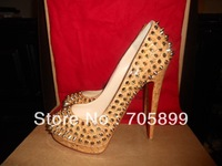 2013 Brand Red Bottom Shoes ALTI PUMP SPIKES Cork Platform Heel Shoes Natural Gold Spike Sexy Women Dress Shoes