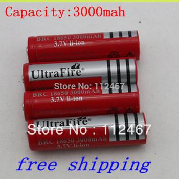 4pcs/1 LOT ultrafire 18650 battery 3000mAh  LI-ion battery 18650 3.7V Rechargeable Battery  for LED Flashlight