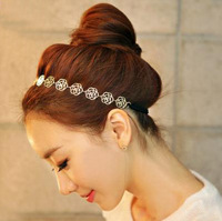 Fashion Wedding Hair Accessories Gold Plated Rose Hairband Rose Flower Chain Link Hairpins AF066