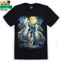 Male short-sleeve T-shirt 3d luminous t shirt neon short-sleeve hiphop animal moon black o-neck