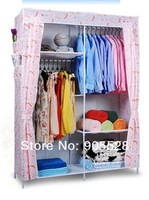 2013 hot sale Simple cloth wardrobe Storage Wardrobe Simple and durable wardrobe fabric wardrobe cabinet orange and white color