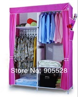 2013 hot sale Simple cloth wardrobe folding portable non-woven wardrobe Easy Assemble modular wardrobe wine red color