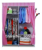 2013 hot sale Simple cloth wardrobe folding Steel fabric non-woven wardrobe cabinet pink color