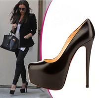 black platform pumps genuine leather high heels woman high heel wedding shoes
