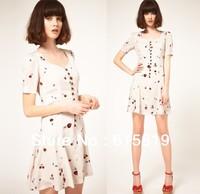 Popular Euro US spring summer fashion style sweet fruit graffiti cherry printing pattern princess yong girl dress,freeshipping