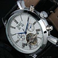 SG post or HK post Jaragar Men Gent Black Tourbillon Date Vintage Mechanical Watch Free Ship