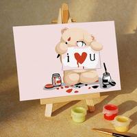 Love bear diy digital oil painting child gift decoration 1015