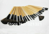 24pcs Professional Makeup Brush Set with Tan Colored Wooden Handle Natural Goat/Nylon Hair Rollup Artificial Black Leather bag