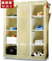 2013 hot sale Simple cloth wardrobe portable non-woven wardrobe Stylish three-door wardrobe / closet folding beige color