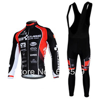 Hot sell !!!black CUBE Winter Thermal Fleece Long Sleeved Cycling Jersey /cycling clothing+ bib pants.