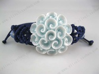 (Free shipping)   National trend personality ceramic flower handmade knitted bracelet unique accessories  Women's accessories