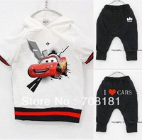 2013 New hot Baby Suit boys I LOVE CARS Short sleeve Hoodies Pants Sport suits Set Childrens kids cartoon cars clothes suits