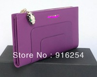 Leather Bags 2013 Fashion Branded L-shaped Zipped Wallet 35285 Purple Free Shipping Bags Women