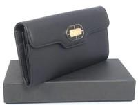 Leather Bags Fashion  Women Wallet/BVGARI Bifond Wallet Calf Leather 351877 Black/ Free Shipping Bags Women