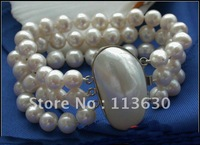 "AA++ 3ROW 8"" 10mm ROUND WHITE CULTURED PEARL BRACELET"
