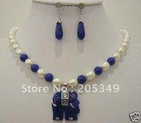 pearl lapis lazuli Elephant pendant necklace earring