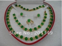 green jade necklace bracelet earring ring set