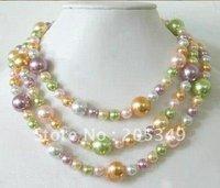 Fashion 3 Strans Mutilcolor Shell Pearl Necklace