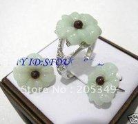 Set 18K GP Nature Flower Jade Ring & Earring