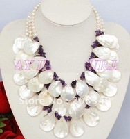 Fashion jewelry 3 Strands White Freshwater Pearl Amthyest & Shell Necklace