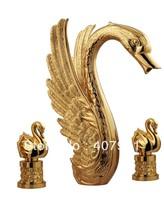 Free shipping gold pvd Swan handles swan tub faucet