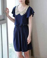 Fashion women's summer new arrival short-sleeve elegant full dress one-piece Blue free shipping