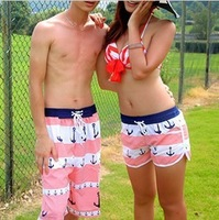 Женские пляжные шорты 2013 new lovers swimwear blue red stripe blend collocation coupleswimming pantsstylish swimsuit women/men shorts size L XL XXL