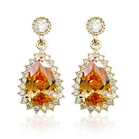 18 K Real Gold Plated Austrian Crystals Paved Zircon Drop Earrings FREE DROP SHIPPING!