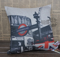 Wholesale - Free shipping Vinage London Street Cotton Linen Pillow Cover Printed Flower Cushion Cover YJ002